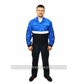 Костюм рабочий Профессионал синий с чёрным