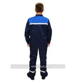 Костюм рабочий арт 001 (куртка и брюки) тёмно-синий/василёк