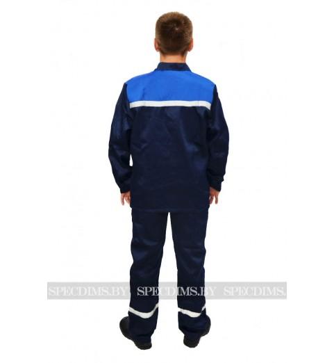 фото Костюм рабочий арт 001 (куртка и брюки) тёмно-синий/василёк