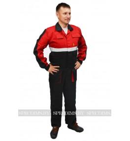 Костюм рабочий Профессионал красный с чёрным