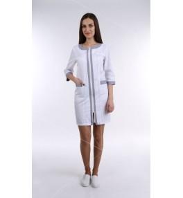 Халат медицинский женский М125 белый с серым
