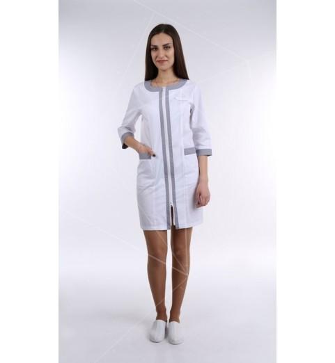фото Халат медицинский женский М125 белый с серым