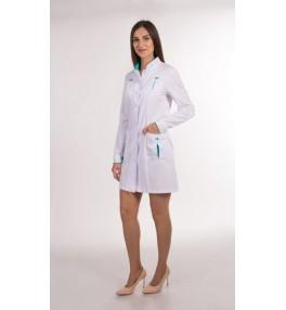 Халат медицинский женский М131 белый с бирюзовой отделкой