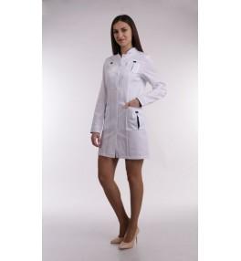 Халат медицинский женский М131 белый с синей отделкой
