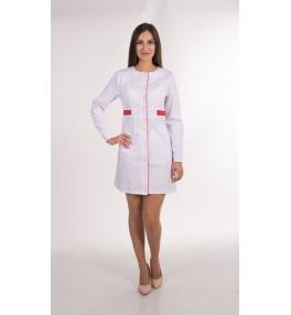 Халат женский медицинский М143 белый с красным