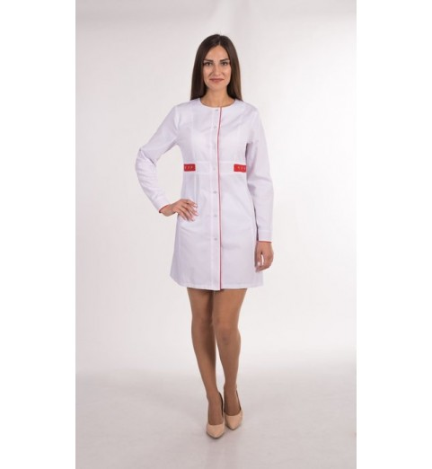 фото Халат женский медицинский М143 белый с красным