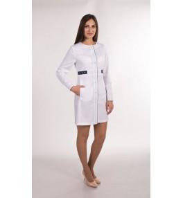 Халат женский медицинский М143 белый с синим