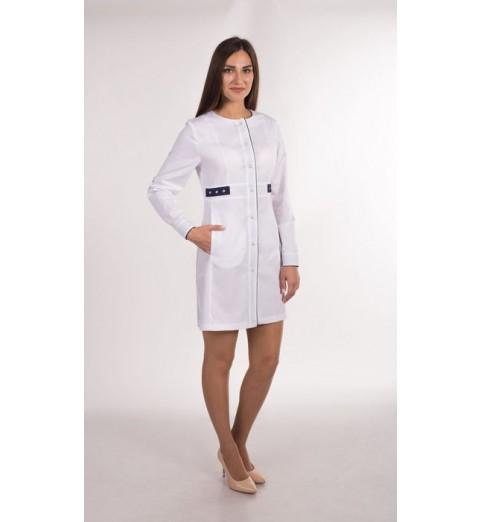 фото Халат женский медицинский М143 белый с синим