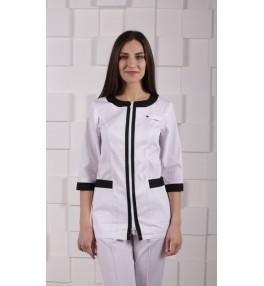 Жакет медицинский женский М151 белый с черным