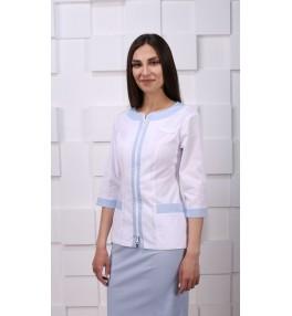 Жакет медицинский женский М157 белый с голубым