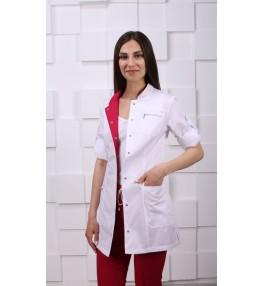 Жакет медицинский женский М161 белый с малиновым