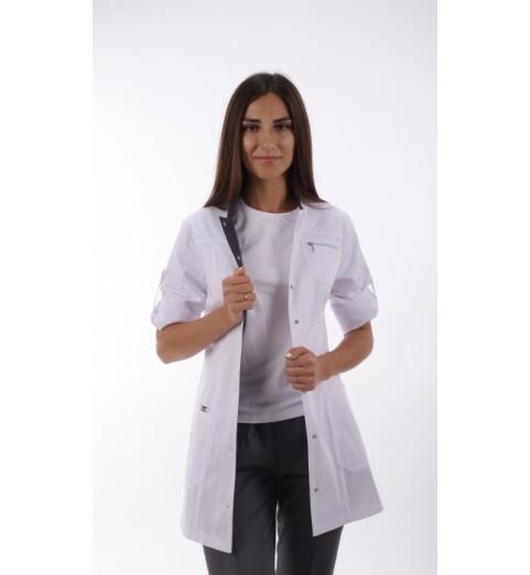фото Жакет медицинский женский М161 белый с синим