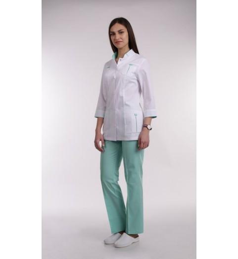фото Костюм медицинский женский М64 белый с мятным
