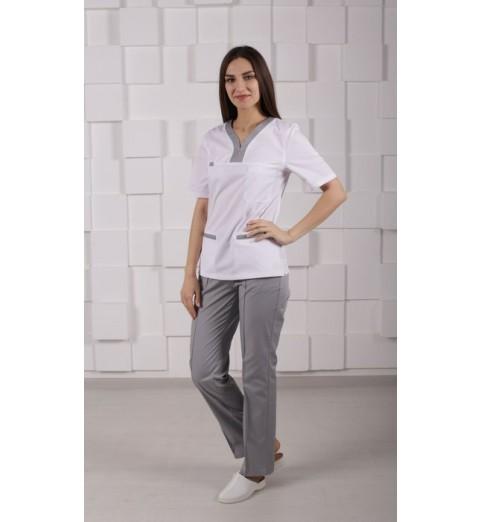 фото Блуза медицинская М99 белый с серым