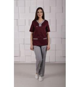 Блуза медицинская М99 бордовый с серым