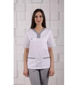 Блуза медицинская М99 белый с серым