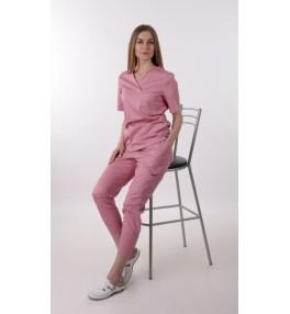 Брюки медицинские женские М184 розовые (пудра)