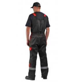 Костюм рабочий Базис с полукомбинезоном (цвет черный с красным)